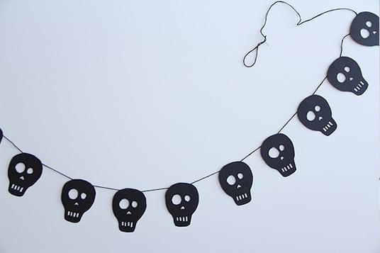 Halloween Ideen Totenkopf Girlande