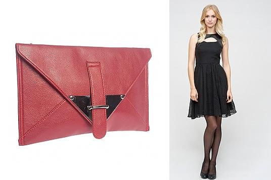 24colours Clutchbag und schwarzes Kleid