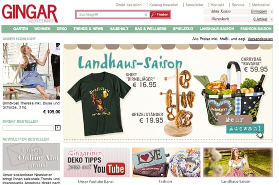 Gingar Katalog deko onlineshop neuentdeckungen